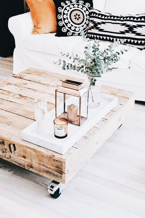 raw wood rolling coffee table