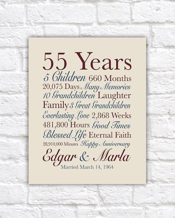 55th Anniversary Gift Grandparents Anniversary Gifts 55th Anniversary Gifts Anniversary Card For Parents 55th Anniversary