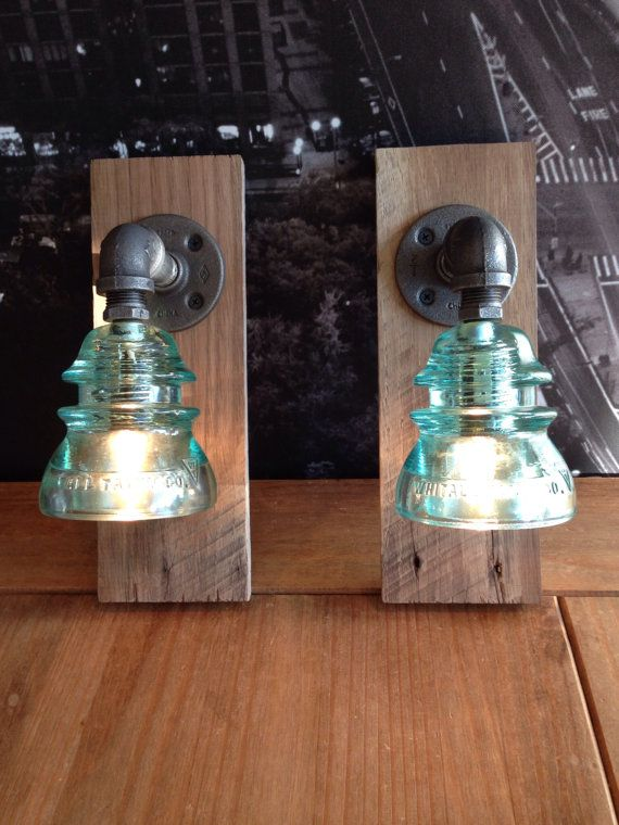 Pair of Industrial Steampunk Barn Wood Glass by TheVintageBulb