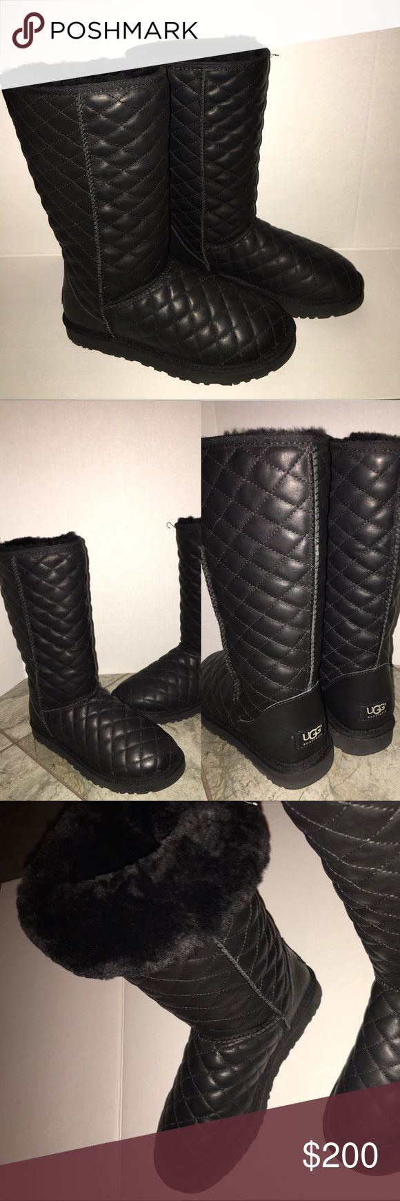 UGG never worn Quilted Leather Boots like new These gorgeous ugg boots originally $300 have never been worn there just like new as shown in pics, perfect to wear this season with a quilted Chanel look they go with anything! Can leave up or fold down however you feel! UGG Shoes