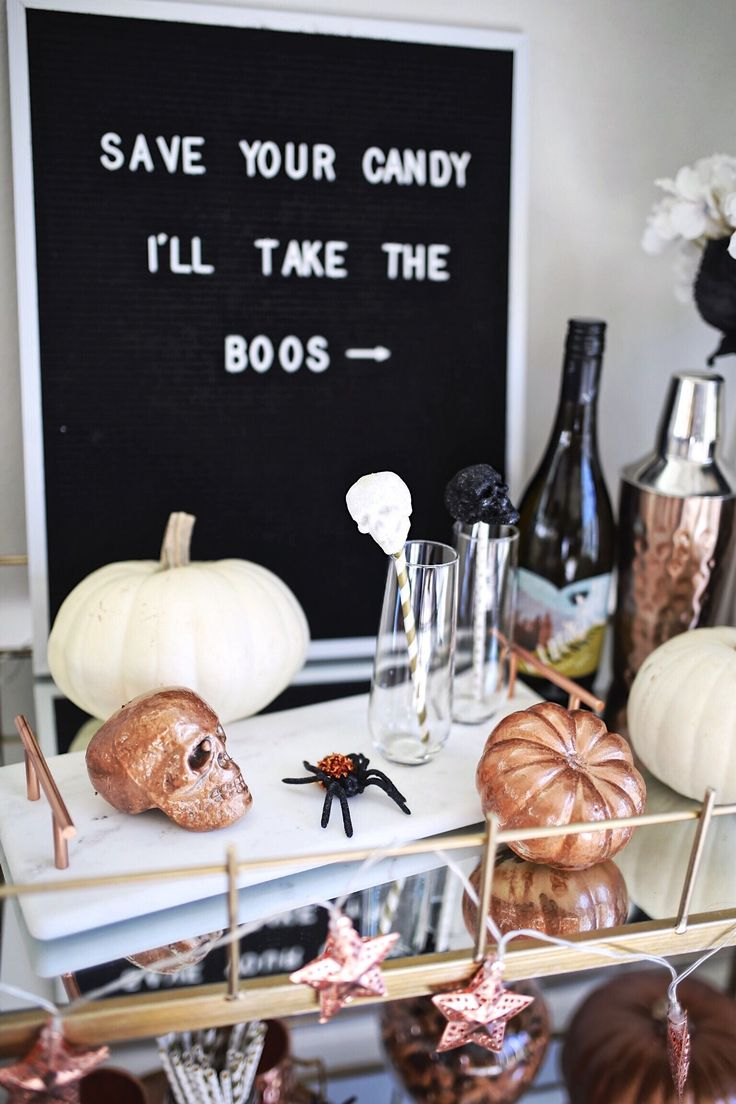 Bar Cart Decor Ideas / Halloween Quote / Copper Pumpkin DIY