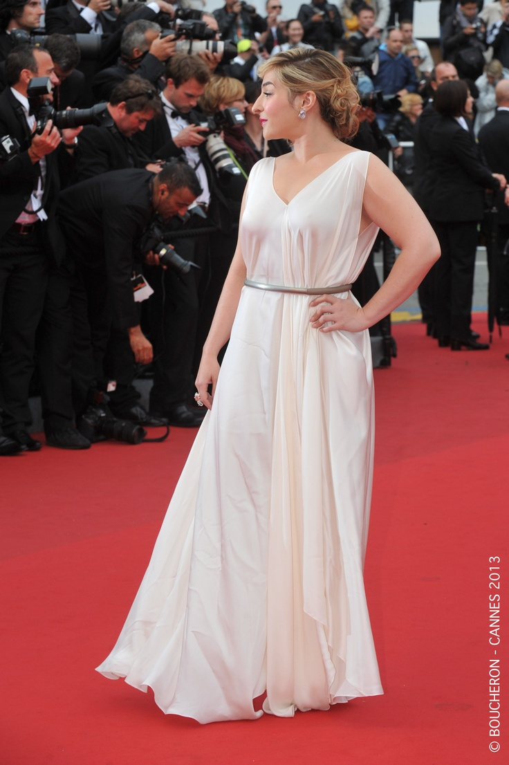 The French actress Marilou Berry, was adorned with the Hathi ring in white and pink gold set with a princess cut diamond, paved with diamonds and rubies as well as Cypris earrings in white gold paved with diamonds #Cannes2013