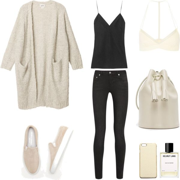Black and Cream by fashionlandscape on Polyvore featuring Mode, Monki, BLK DNM, T By Alexander Wang, Skin, Common Projects, ADOPTED and Helmut Lang