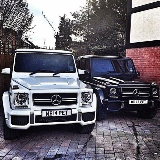 Two Mercedes G Class SUV's.