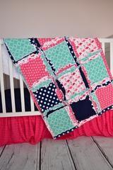 Flamingo Baby Girl Crib Bedding - Pink, Navy Blue, & Mint Nursery - Crib Bedding - A Vision to Remember