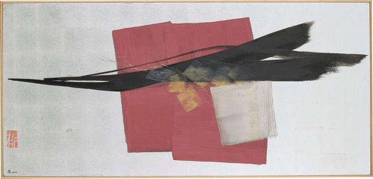 風の影 SHADOW OF THE WIND / 850×1800mm / 墨、朱、銀泥、金泥、銀箔、和紙 Sumi,Cinnabar Paint,Silver Paint,Silver Leaf on Paper / 1994