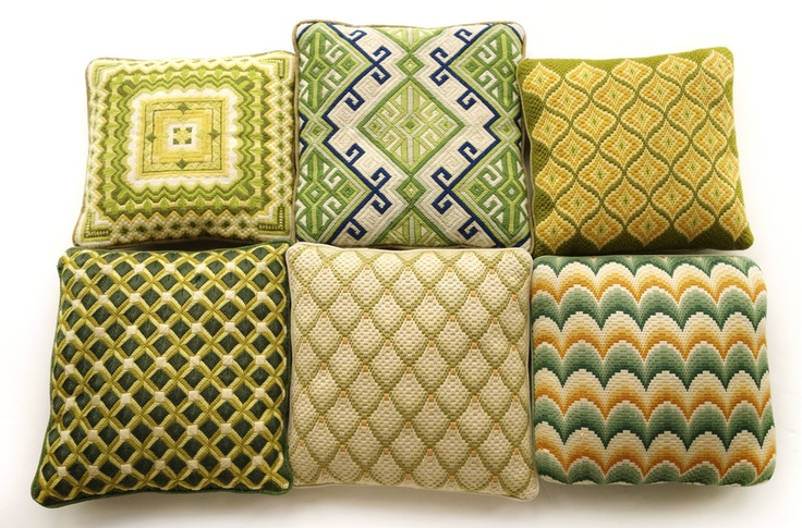 Set of 6 Vintage Bargello/Needlepoint Pillows in Greens - Wary Myers shop
