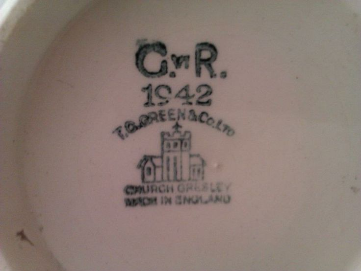 The standard T G Green back stamp to the Truro City mug but denoting the year of manufacture as 1942, at a time when clay and glaze were rationed and production limited.