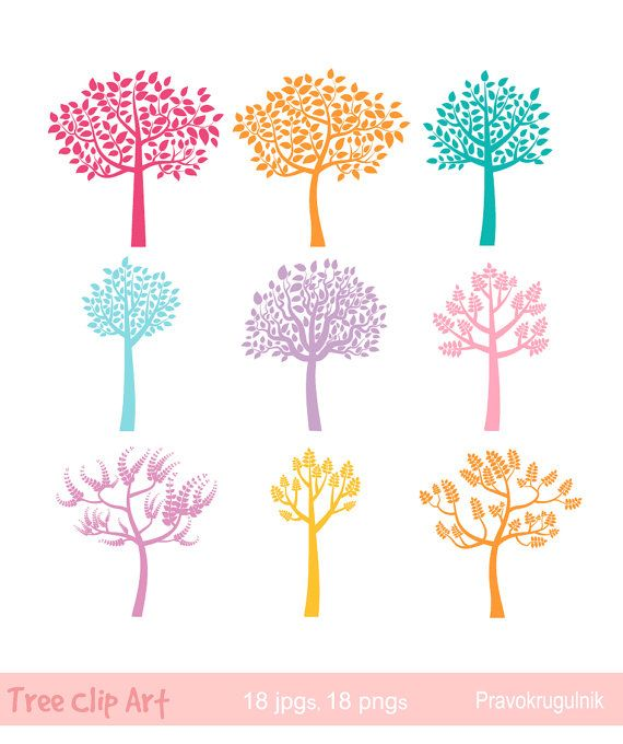 Colorful tree clipart, Color tree silhouette clipart, Fall ...