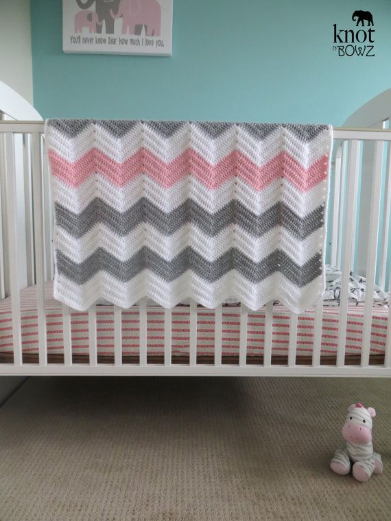 Crochet Chevron Baby/Toddler Blanket Afghan in White by knotnbowz