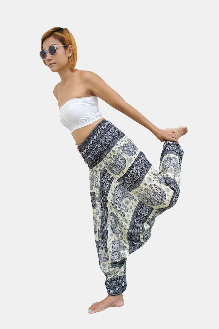 Elephant Thai Harem Pants Women Jumpsuit Black & White Stripe