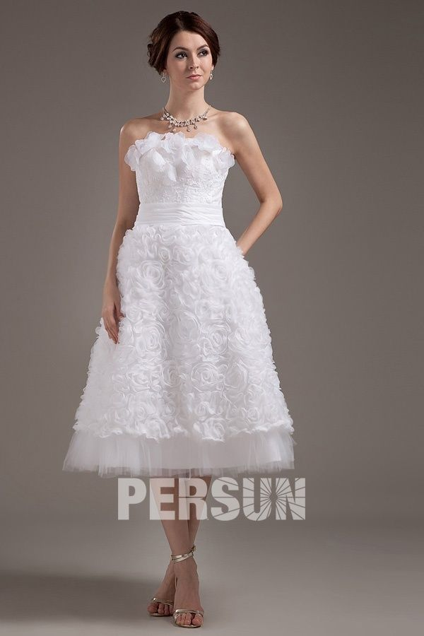 Malmesbury Fashionable Applique Strapless Mini Wedding Gown