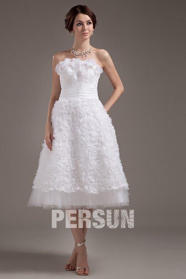 Malmesbury Fashionable Applique Strapless Mini Wedding Gown