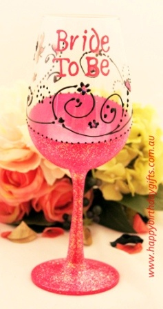 Bride To Be Personalised Wine Glass - Hand Painted - Bridal; Shower / Hens Night