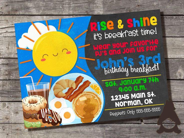 Breakfast Birthday Party Invitation, Pancakes and Pajamas Party, Pancake Birthday Party, Printable Invitation for Kids Birthday Party by RockCreekPaperCo on Etsy