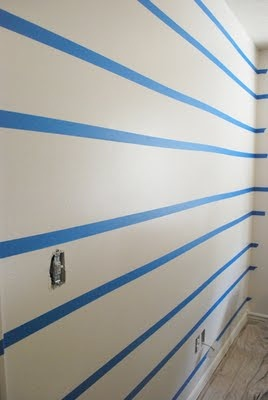 The Shabby Nest: Scotch Blue Painting Party - A Striped Wall for my Boys~