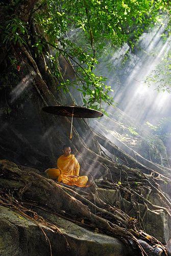 Monje tailandés en meditación natural