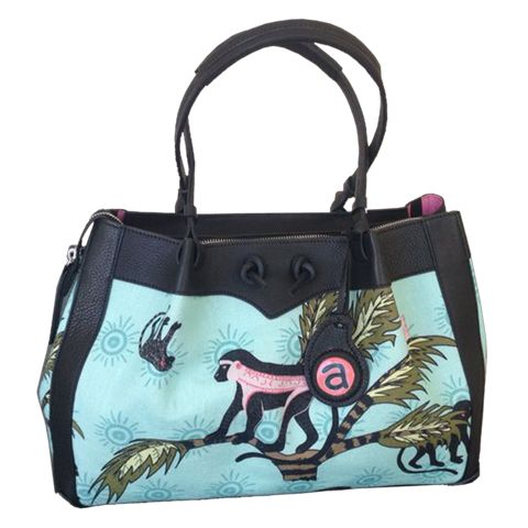 Ardmore Design, Monkey Palm Oasis Handbag with Black Leather Trim