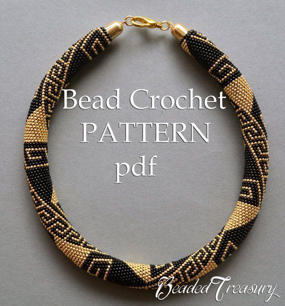 Bead crochet pattern necklace Greek Meanders /