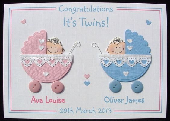 Image result for handmade twins congrats cards