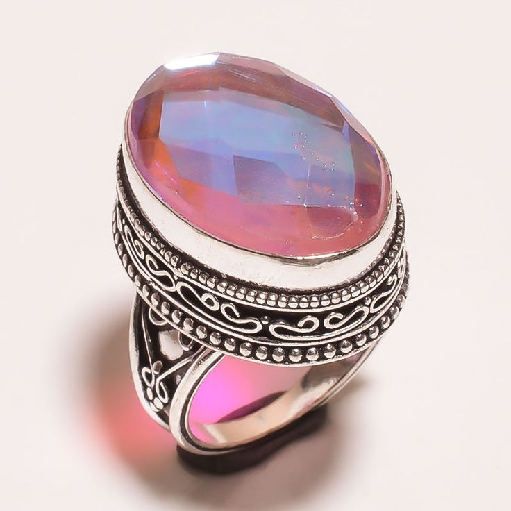 FACETED MYSTIC TOPAZ QUARTZ .925 SILVER CARVING JEWELRY RING SIZE 7.75 (JA642) #Handmade