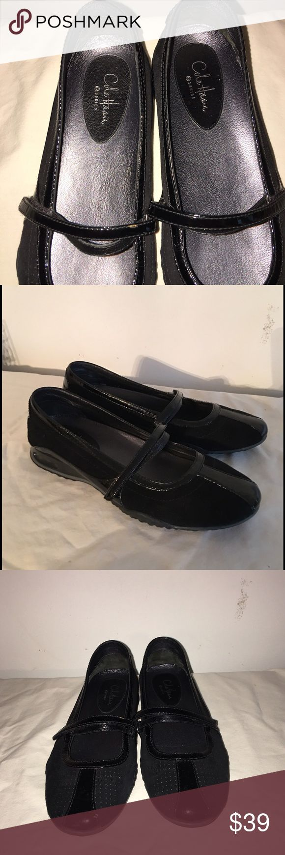 "Cole Haan Nike Air Bris black Mary Jane Shoes 7B Cole Haan Nike Air Bria Mary Janes black suede patent leather trim. Great condition, hardly worn. Rounded toe with adjustable grip strap.  Padded footbed and nonslip soles. Heel is .5"", size 7 B Cole Haan Shoes Flats & Loafers"