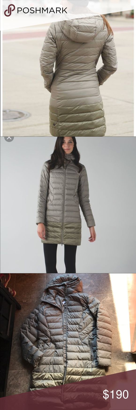 Lululemon 1x Lady Jacket Soft Earth Goose Down 10 Good used condition. Only has small stain on bottom of coat that is not noticeable when wearing. Small stain on sleeve as pictured. Goose down long jacket lululemon athletica Jackets & Coats