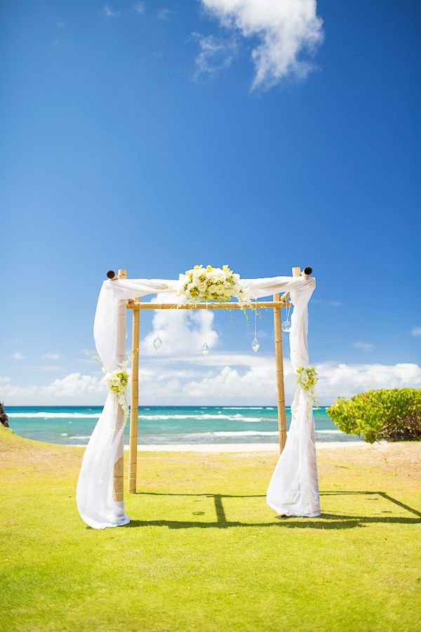 natural bamboo arch with draping is the perfect backdrop for a st thomas beach wedding - Bamboo Canopy 2015