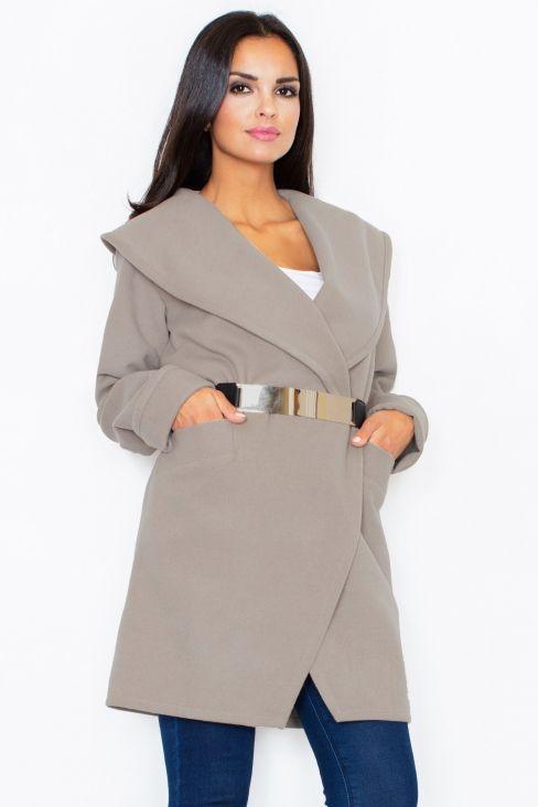 Figl - Manteau col châle feutré avec ceinture dorée