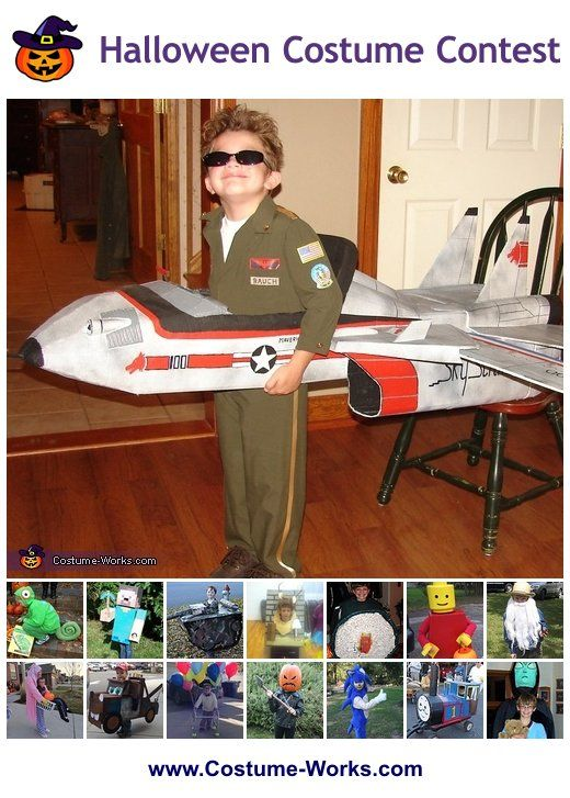 Maverick and his Top Gun Fighter Jet - Homemade Costume for Boys