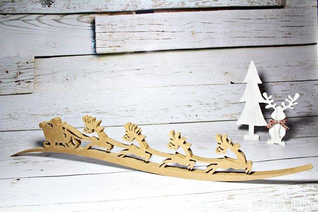 SANIE Z RENIFERAMI ozdoba Boże Narodzenie 95cm - sweety-home - Figurki bożonarodzeniowe