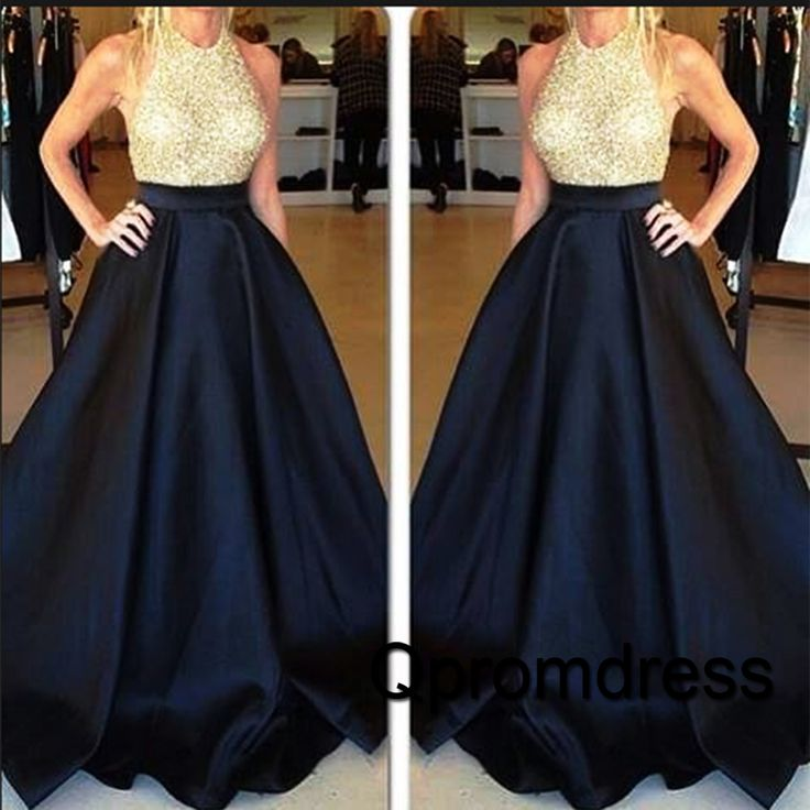 2016 cute dark blue satin long poofy prom dress with sequins top, ball gown…