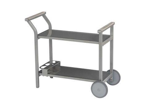 Stern Gartentisch/Beistelltisch Servierwagen Milano Aluminium Graphit Glas  Grau