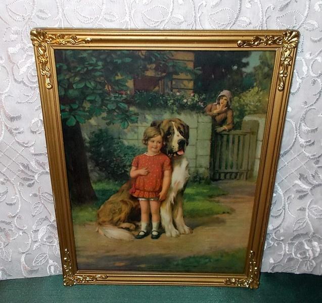 Framed Print of Girl Hiding Behind her Saint Bernard
