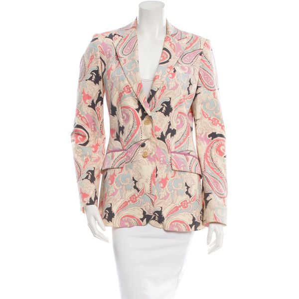 Pre-owned Etro Printed Two-Button Blazer ($145) ❤ liked on Polyvore featuring outerwear, jackets, blazers, pink blazer jacket, etro, multi color blazer, pink blazer and 2 button blazer
