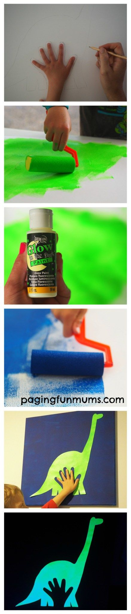 DIY Glow in the Dark Handprint Wall Canvas! Inspired by The Good Dinosaur.
