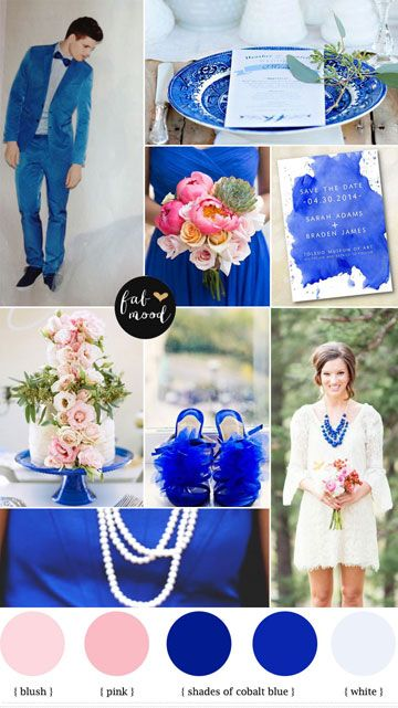 Cobalt blue,mint and pink summer wedding colors palette | fabmood.com