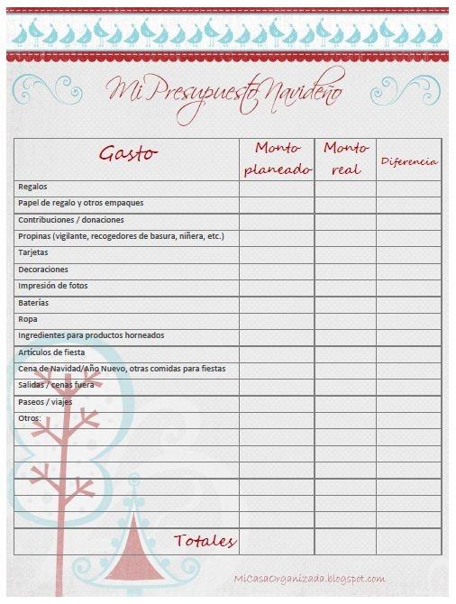 Mi Casa Organizada: Imprimible: Planifica tu presupuesto navideño
