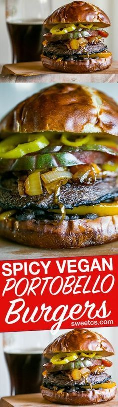 Vegan On A Budget... These spicy vegan portobello burgers are filled with veggies and rich mexican flavors - these are our favorite burger subsititute!