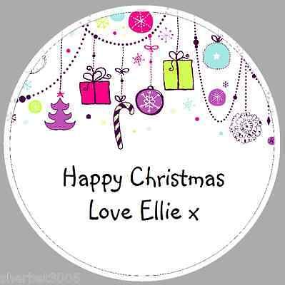24 x 40mm Personalised Stickers Round Christmas Decorations Labels