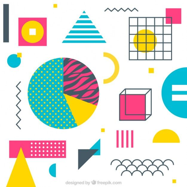 Colorful and geometric shapes background Free Vector