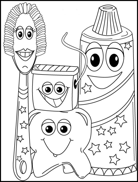 Dental Hygiene Coloring Page- Great for kids who are waiting for an exam, or with their parents!