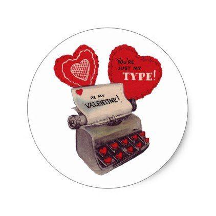 Vintage Valentine Old Fashioned Typewriter Classic Round Sticker - vintage gifts retro ideas cyo
