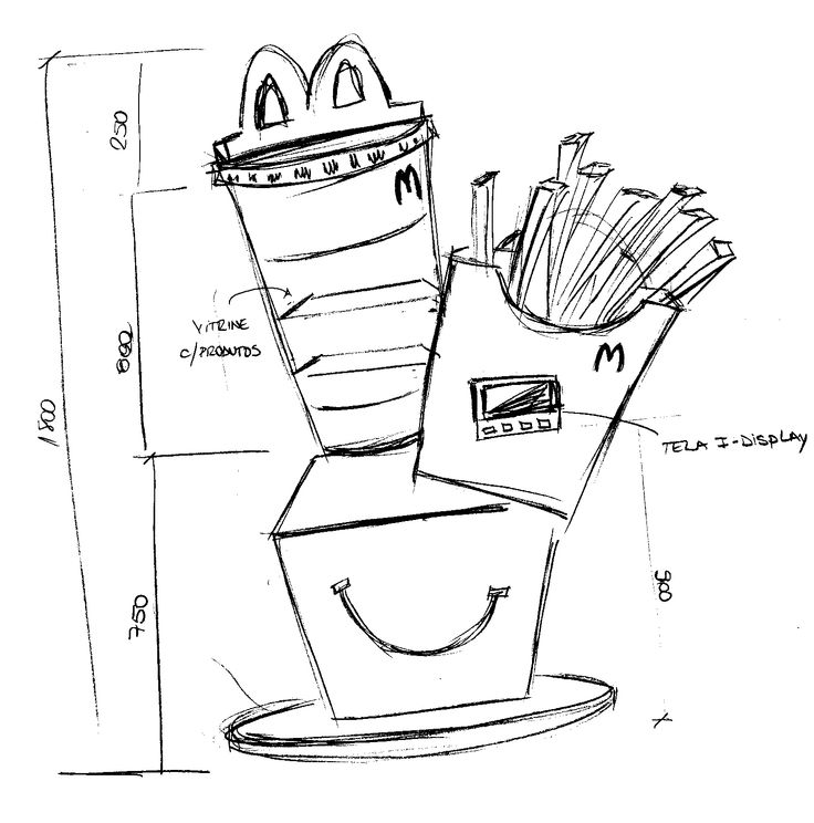 Raf  e estudo de medidas, para novo expositor do McDonald's com tela interativa e vitrine. Criação e desenvolvimento: Andreia de Jesus.