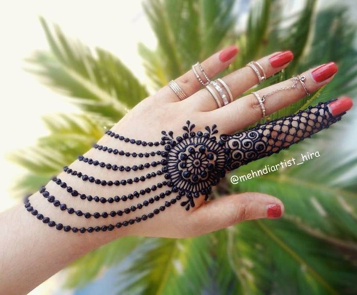 Back Hand Mehndi Designs with Circle and Lace Patterns