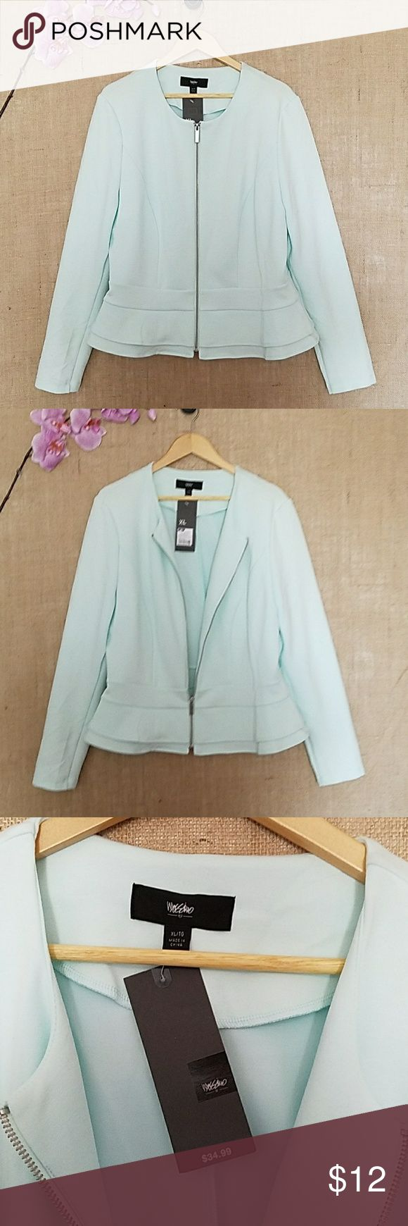 Light Blue Waste Length Jacket NWT This is an adorable and soft light blue jacket.  It zips in the front and is ruffled at the waste.  Great look with jeans or a skirt. Wear with a cute top and keep it unzipped. Mossimo Supply Co Jackets & Coats Blazers