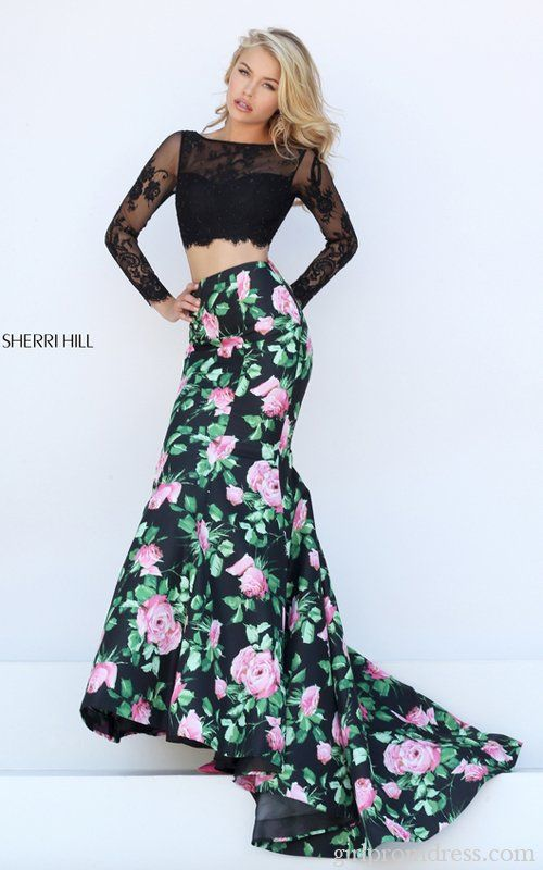 Lace Sherri Hill 50400 Floral Two Piece 2016 Prom Dress Prom
