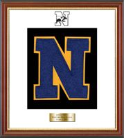 Newtown High School in Connecticut Varsity Letter Frame - Showcase your varsity letter in our Newport solid hardwood shadowbox frame in cherry finish with black accents and gold lip with hand embossed Newtown High School logo, on our white and black museum quality matting. A personalized engraved plate is included.