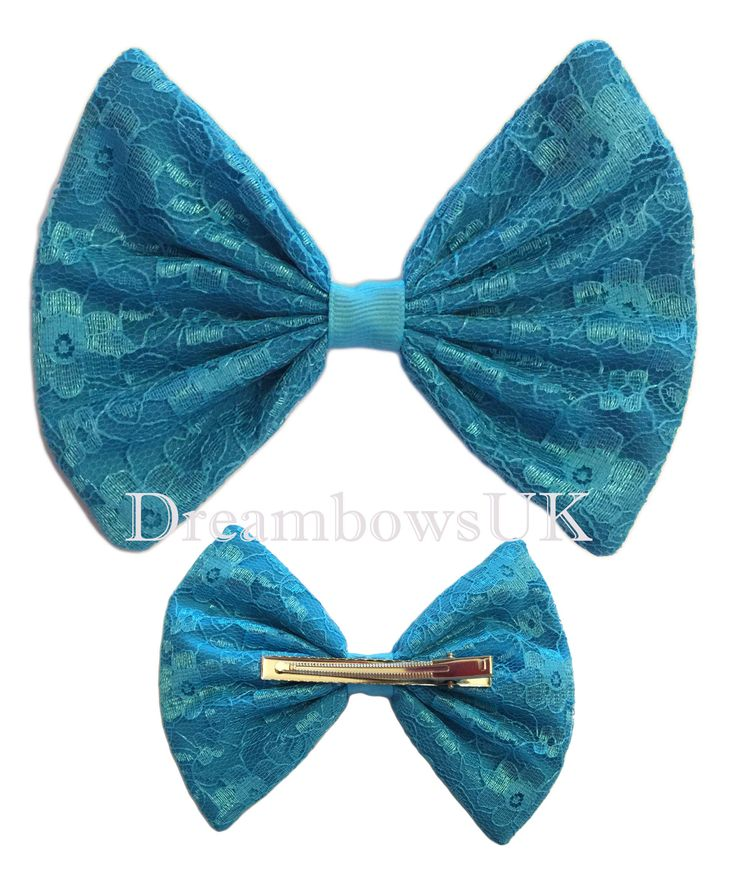 Large turquoise floral lace hair bow on alligator clip, Big hair bows for girls, Dance bows, floral lace hair accessories, hair clips/slides