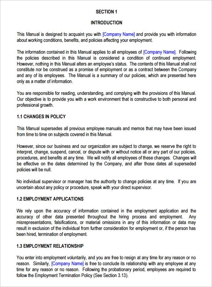 13 Employee Handbook Templates Word Excel Pdf Templates Employee Handbook Template Employee Handbook Job Application Cover Letter